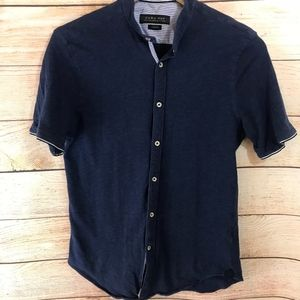 Zara Mens Blue Button Down Slim Fit Small
